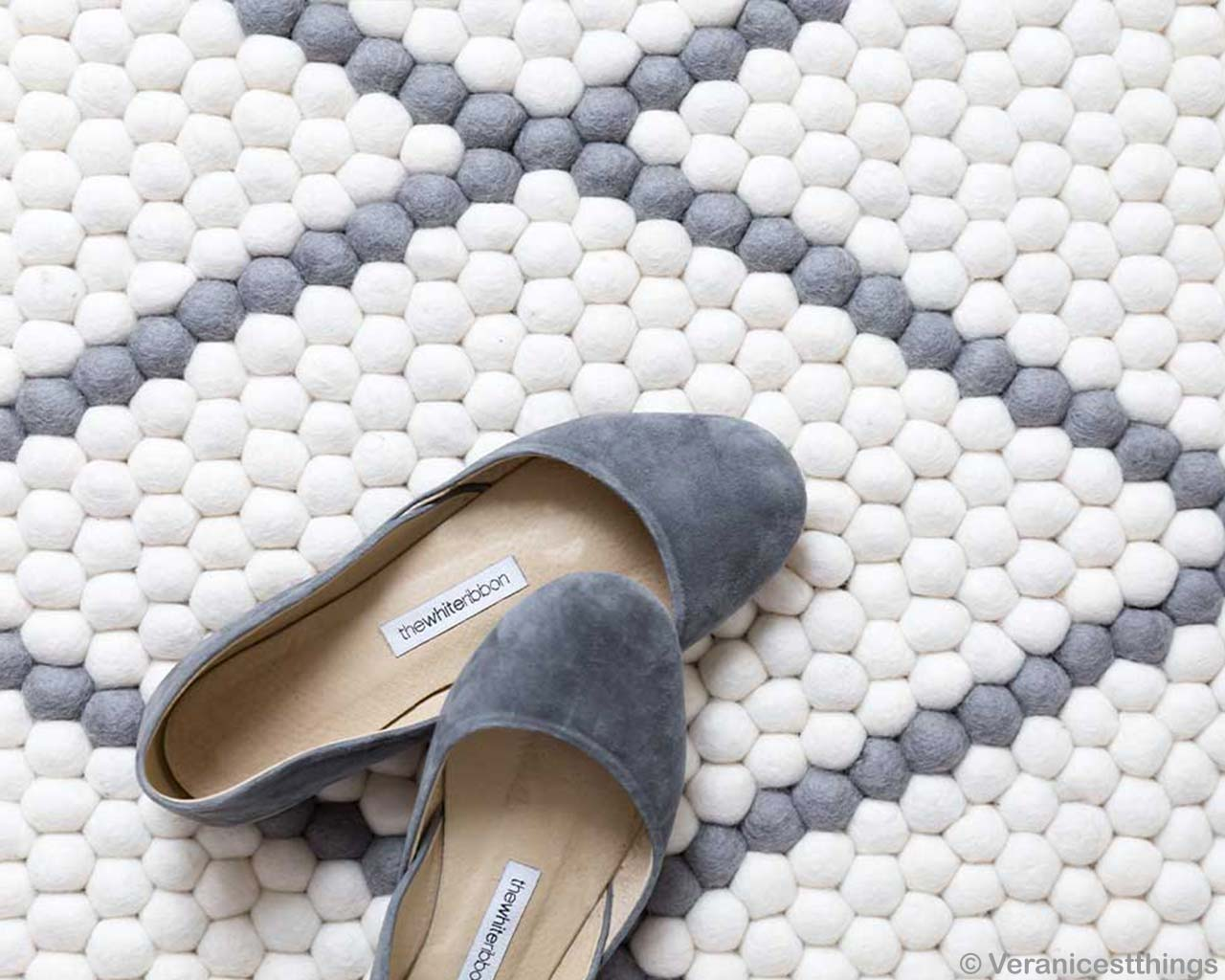 Grey Female Shoes on Balls Carpet White Grey 2