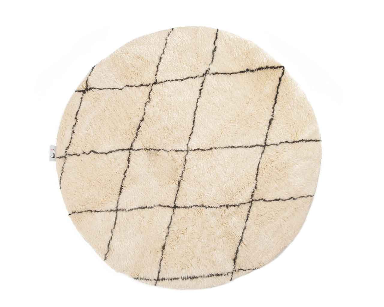 checkered pattern wool carpet round 1