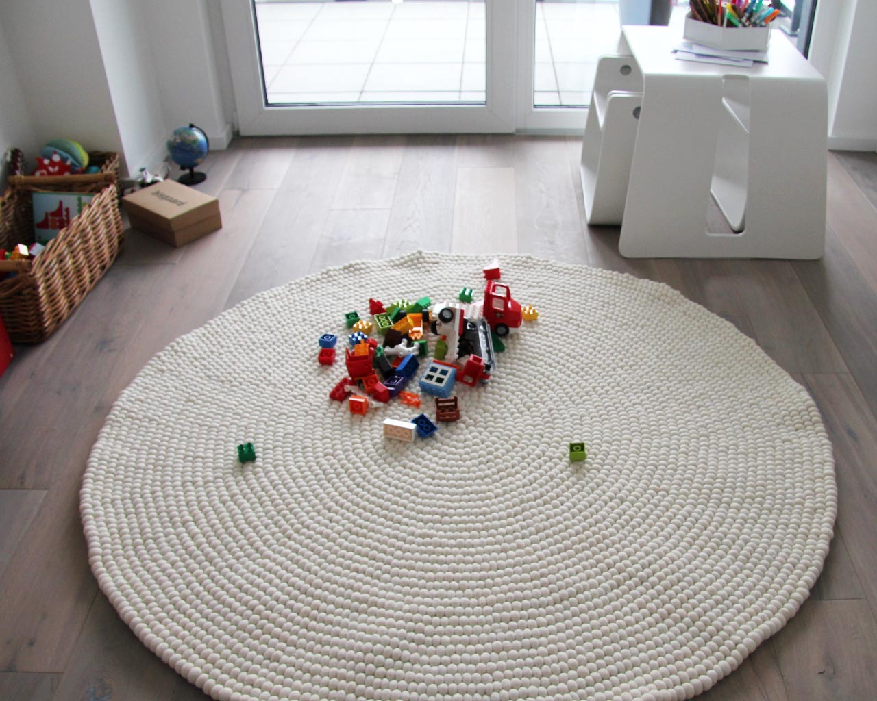 colorful toys white large carpet