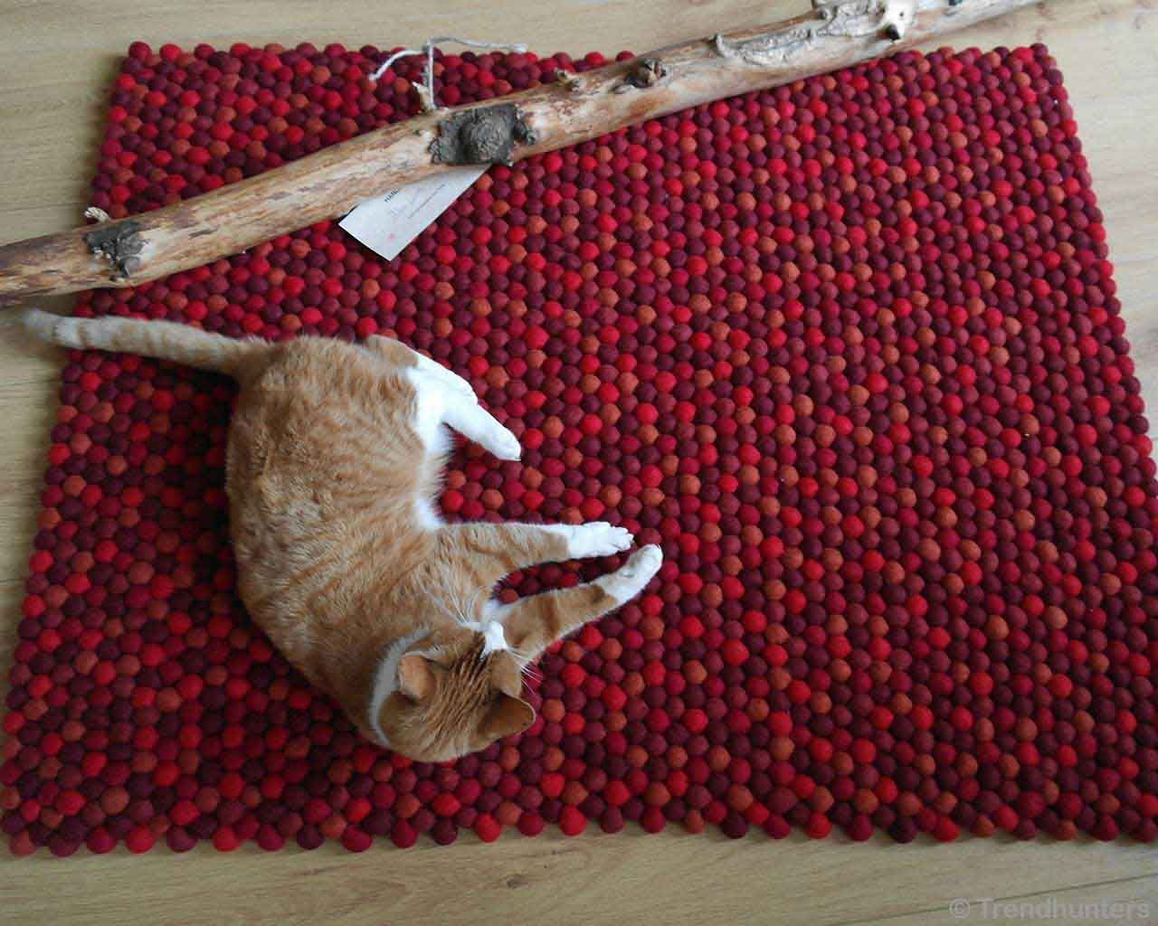 woolen cat sleeping on floor asian modern floor rugs