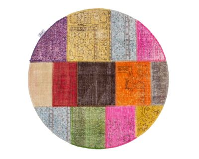 Custom overdyed patchwork rug - Round