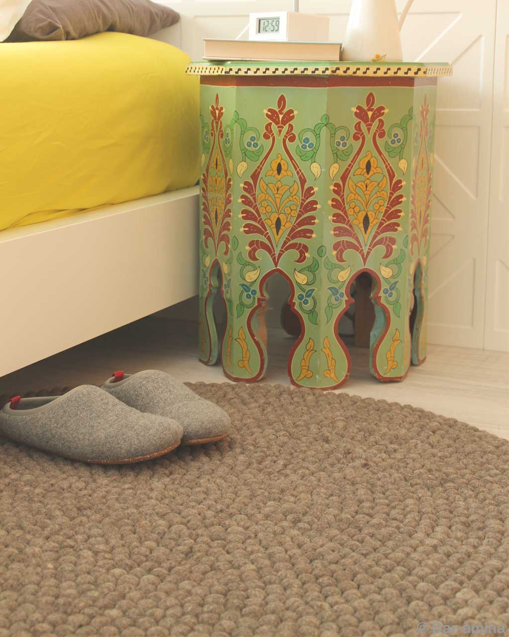 bed side table and shoes nepal danish design felt ball capel rugs