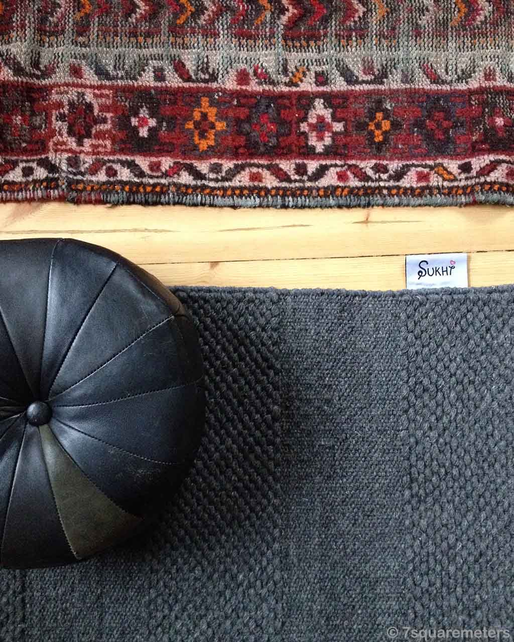 black couch india braided felt rugs