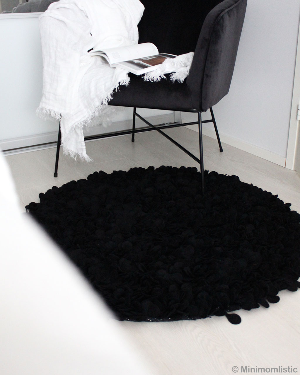 black steel chair indian contemporary cut felt black floral rug