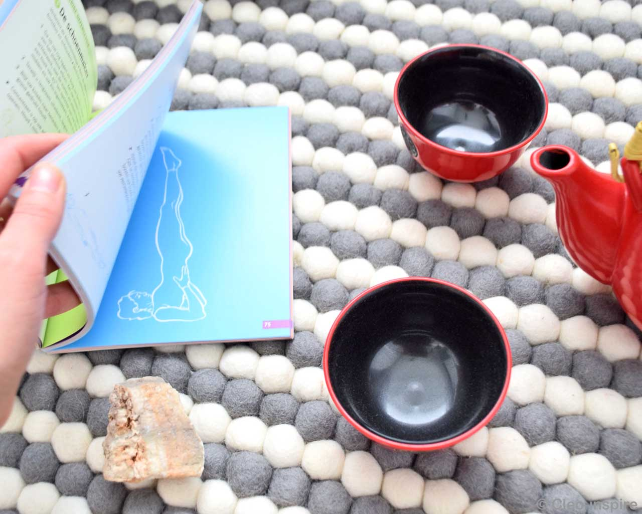 book bowls and tea pot nepalian made modern striped rug
