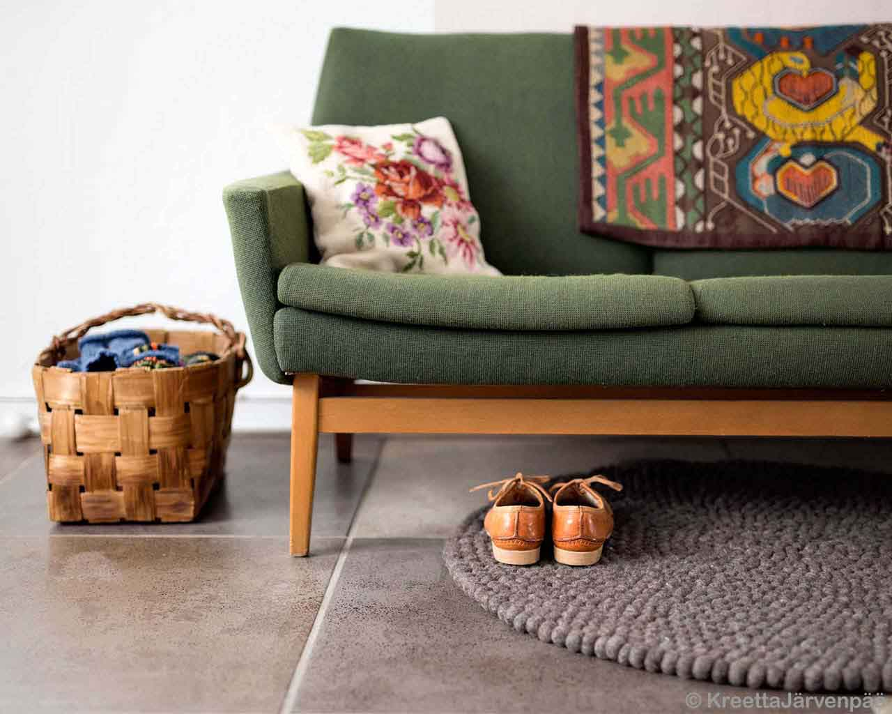 brown shoes basket and sofa made by nepalian modern small rugs