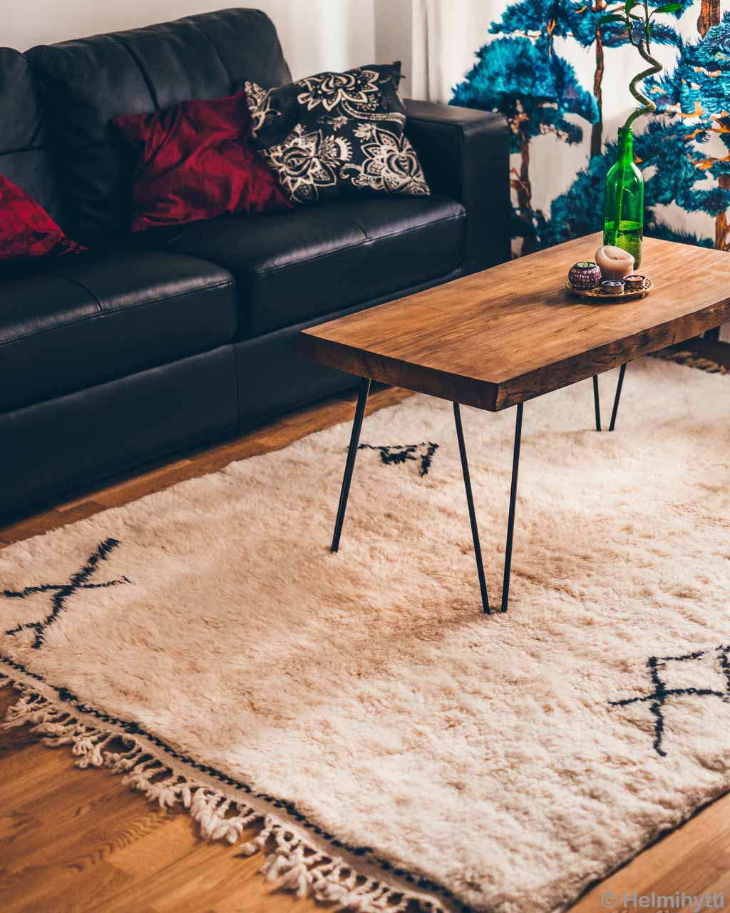 brown table and black sofa from morocco modern rugs