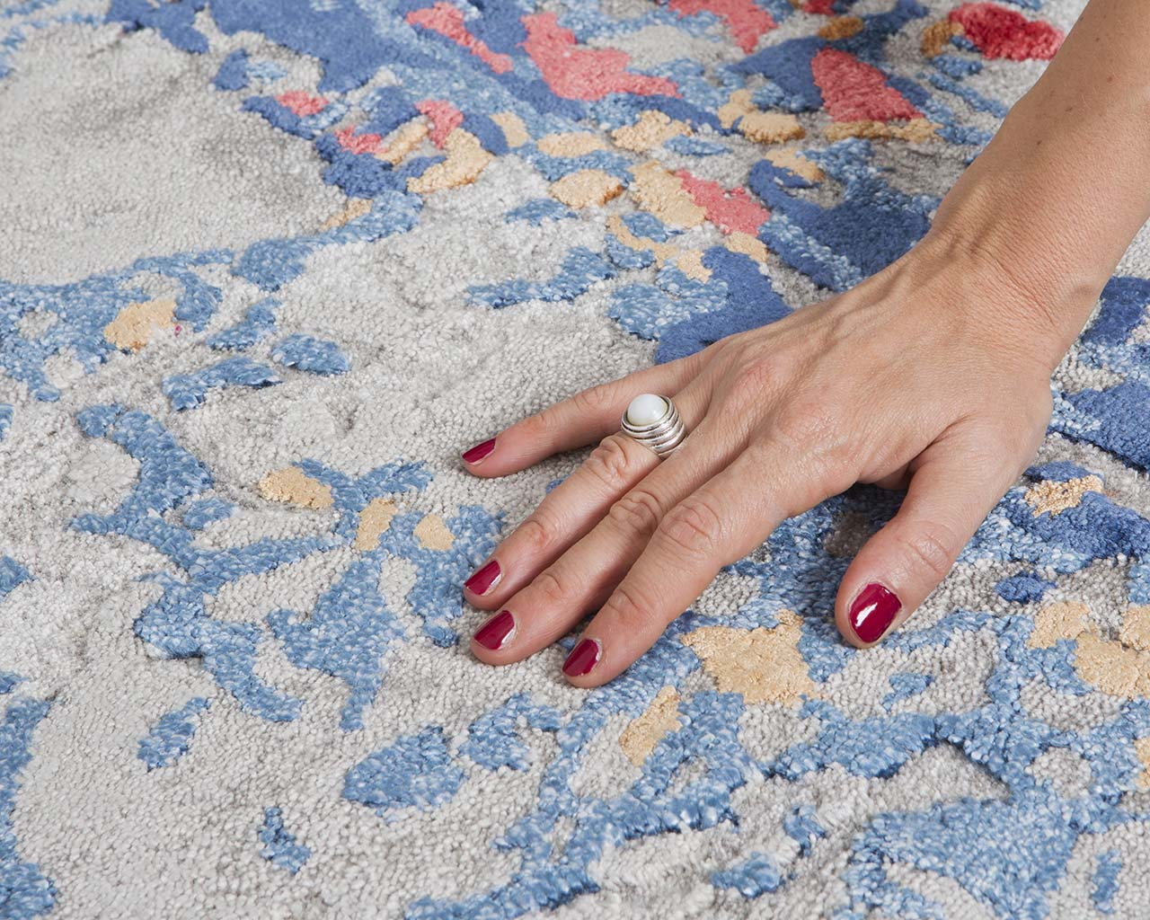 dark blue modern hand with nail polish asian rugs for sale
