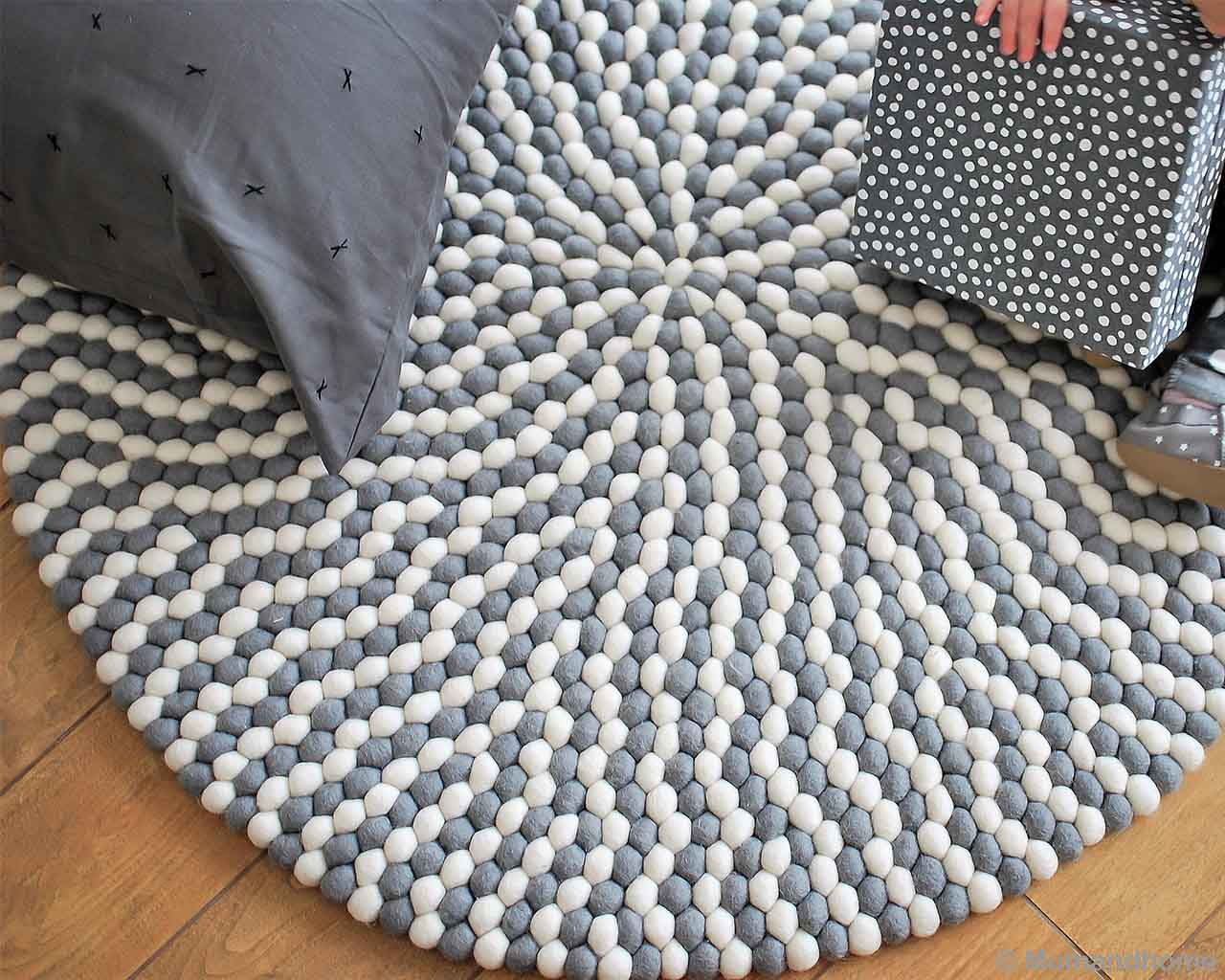 dark gray cushion fresh felt ball living room rugs