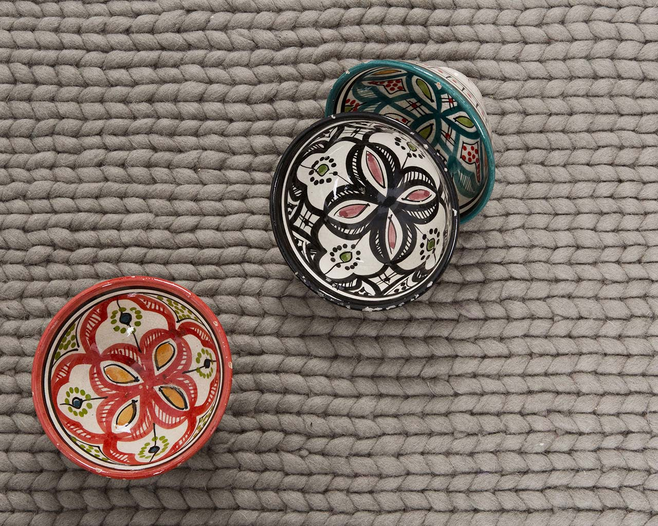 dim gray knitted soft moroccan bowl contemporary wool carpets on sale