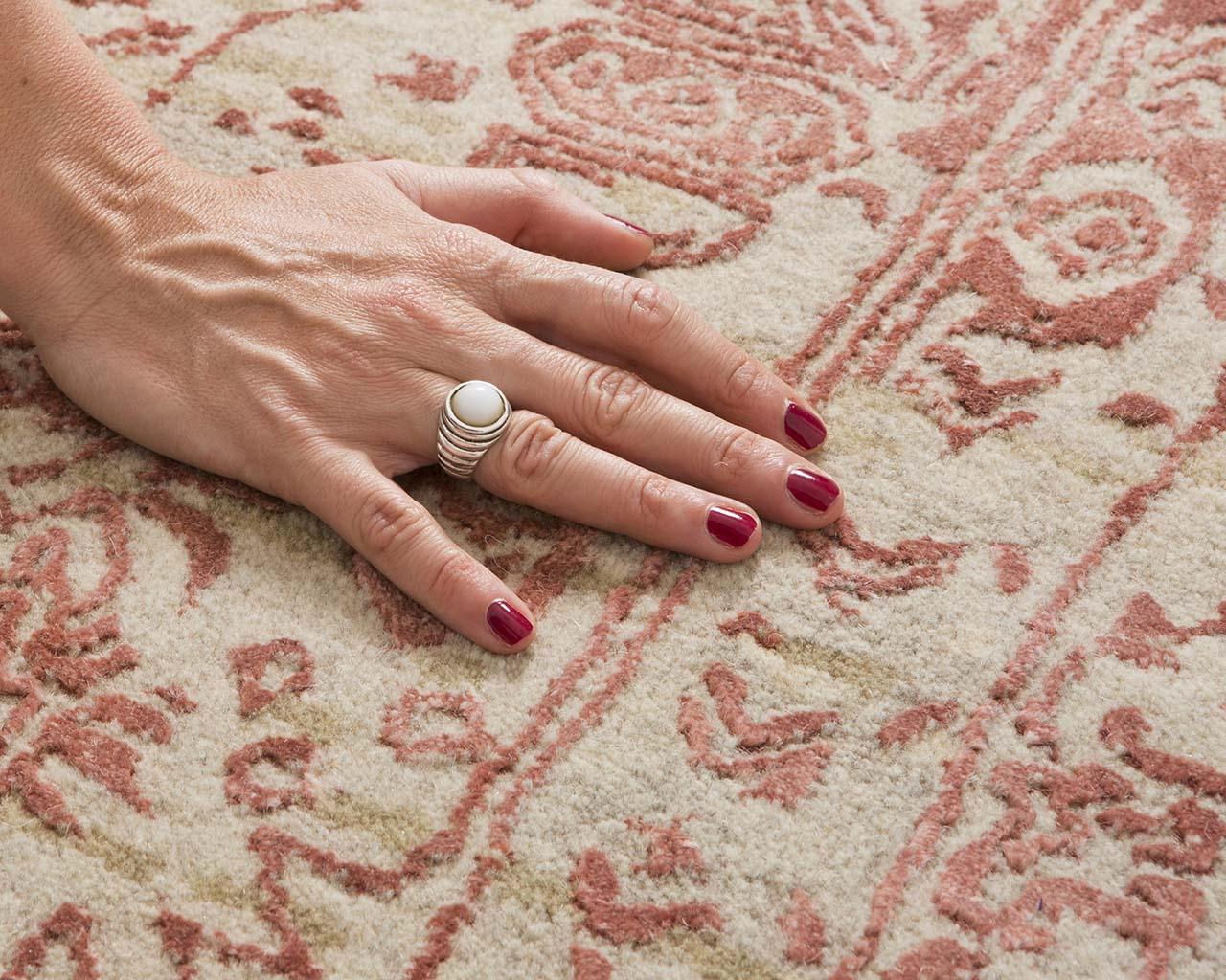fire brick fresh hand with nail polish old persian carpets