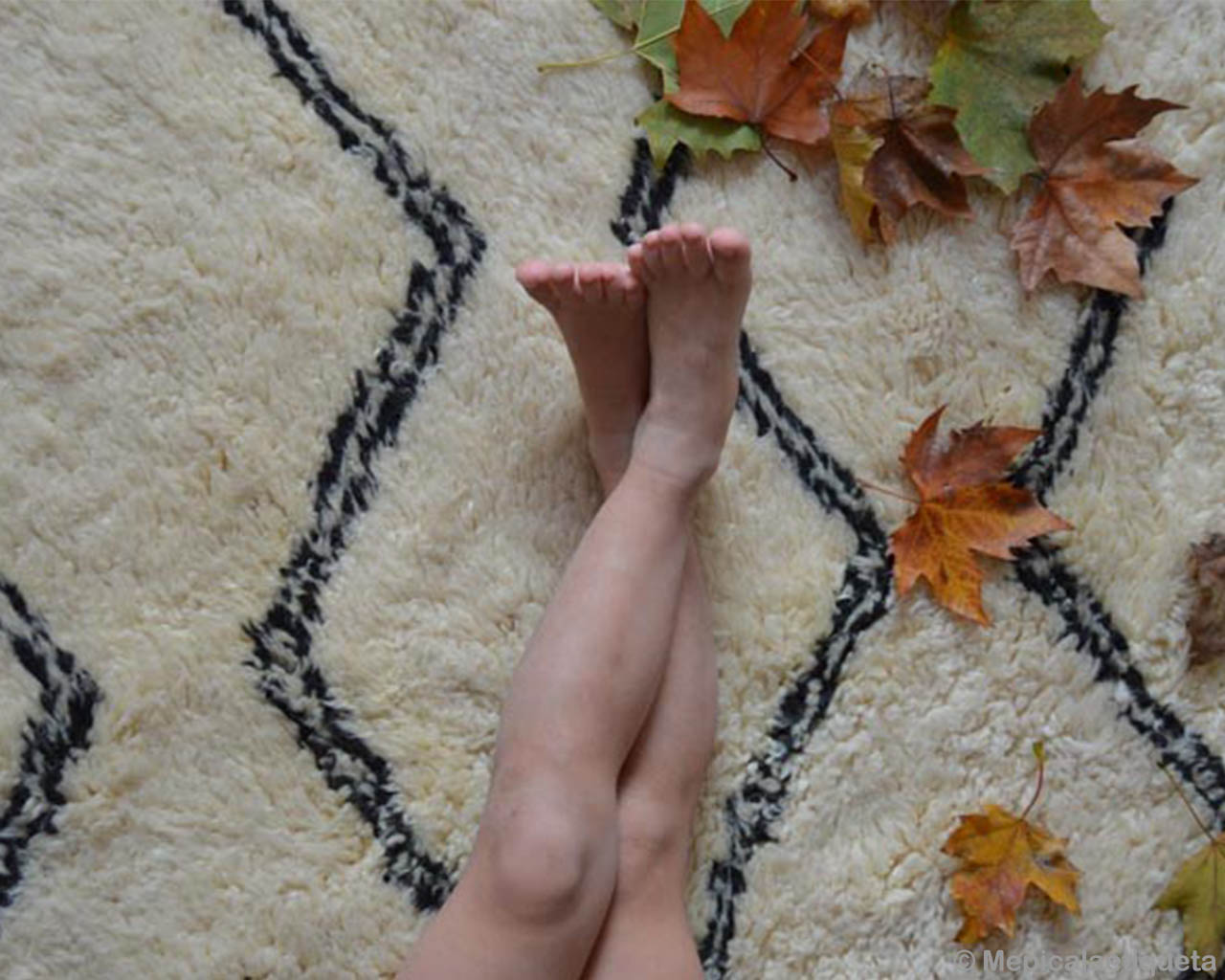 girls legs and golden leaves asian modern accent rug
