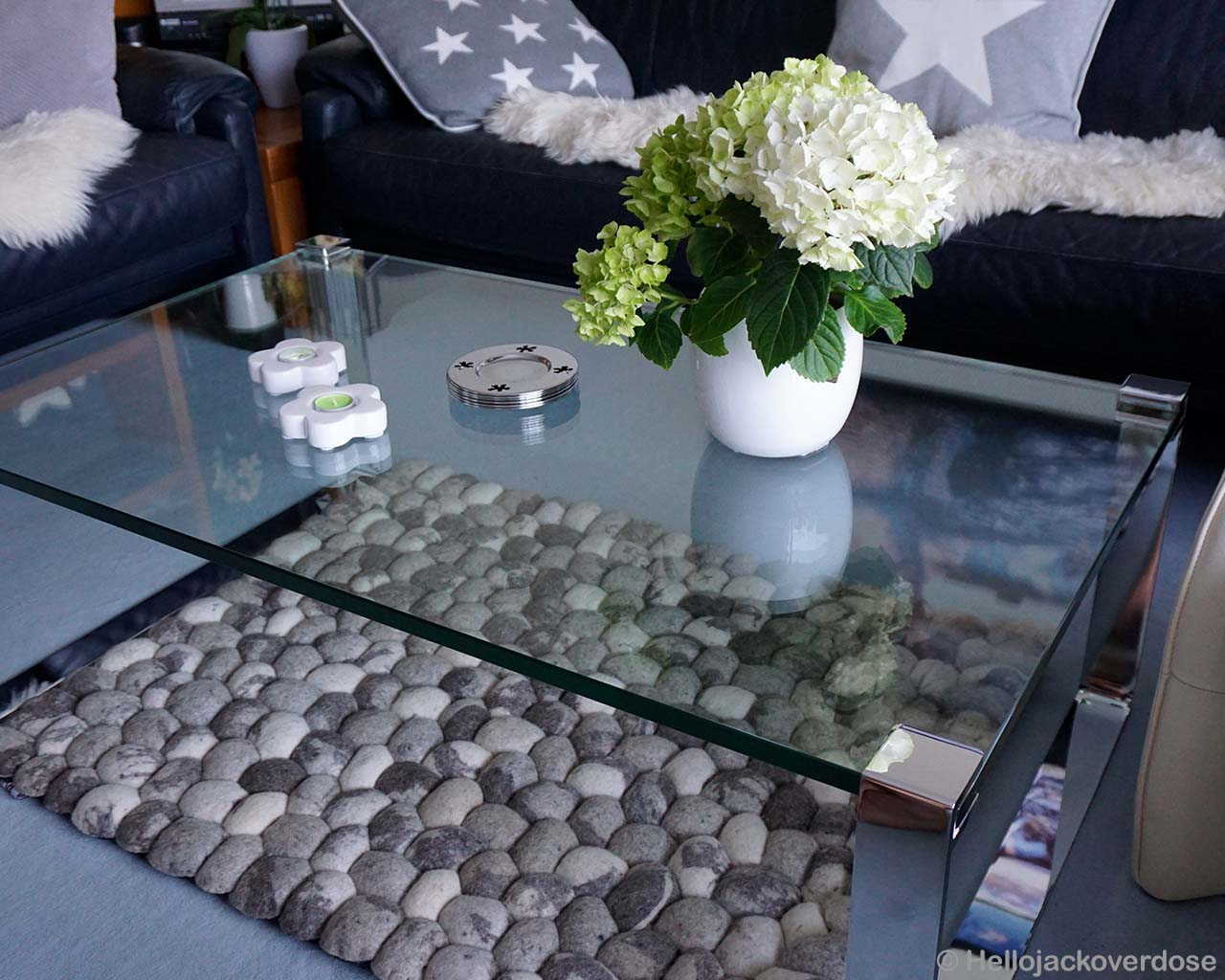 glass table asian modern gray felt ball striped rug