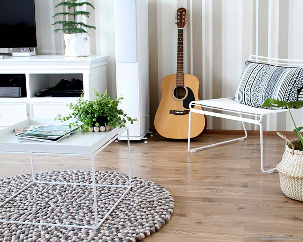 guitar chair and pots asian contemporary rugs