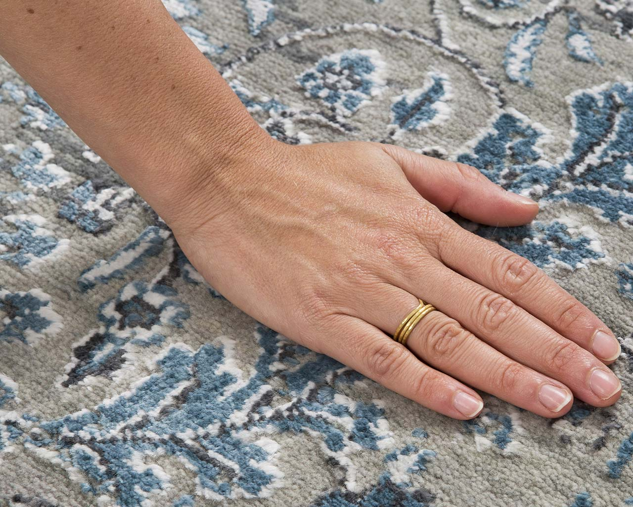 hand knotted aqua hand with ring modern carpet large