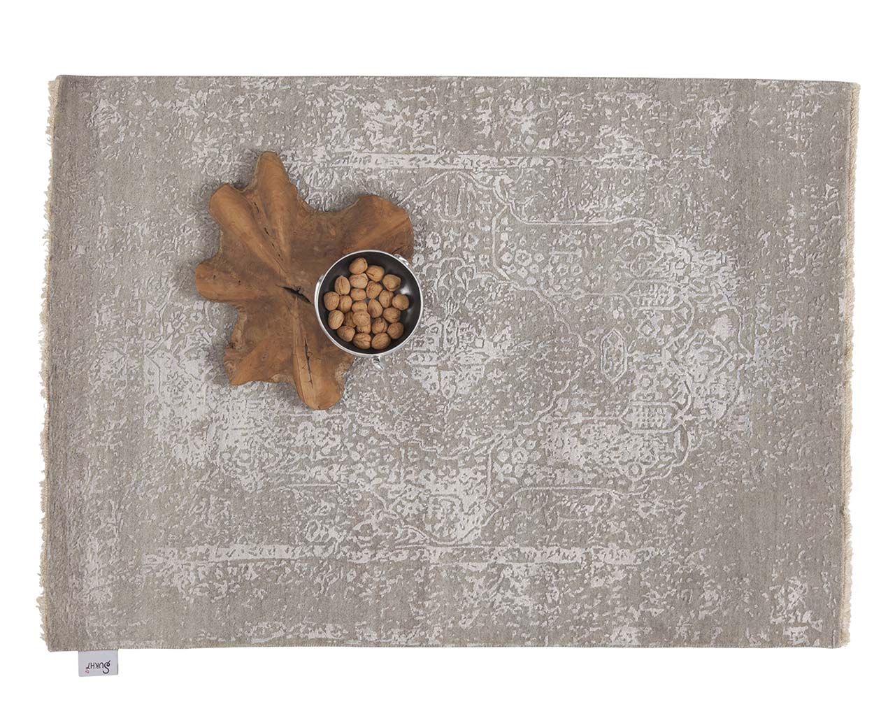 hand knotted light gray with bowl handmade wool carpets