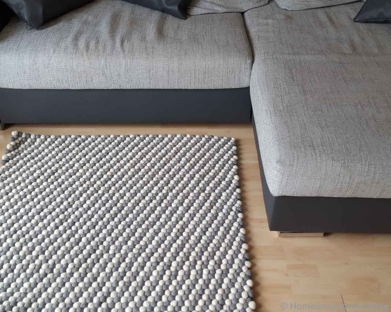 hand knotted made by nepalian contemporary light gray and white felt ball area rug