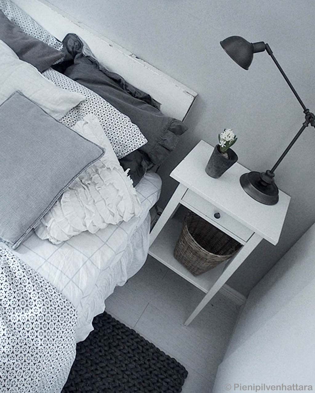 hand knotted table lamp on bedside table braided felt kitchen rugs