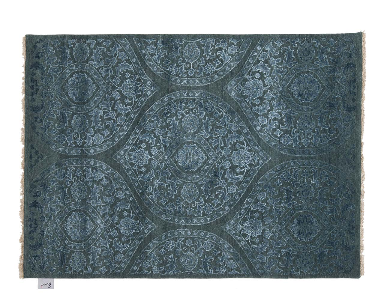 hand knotted woven blue asian rugs