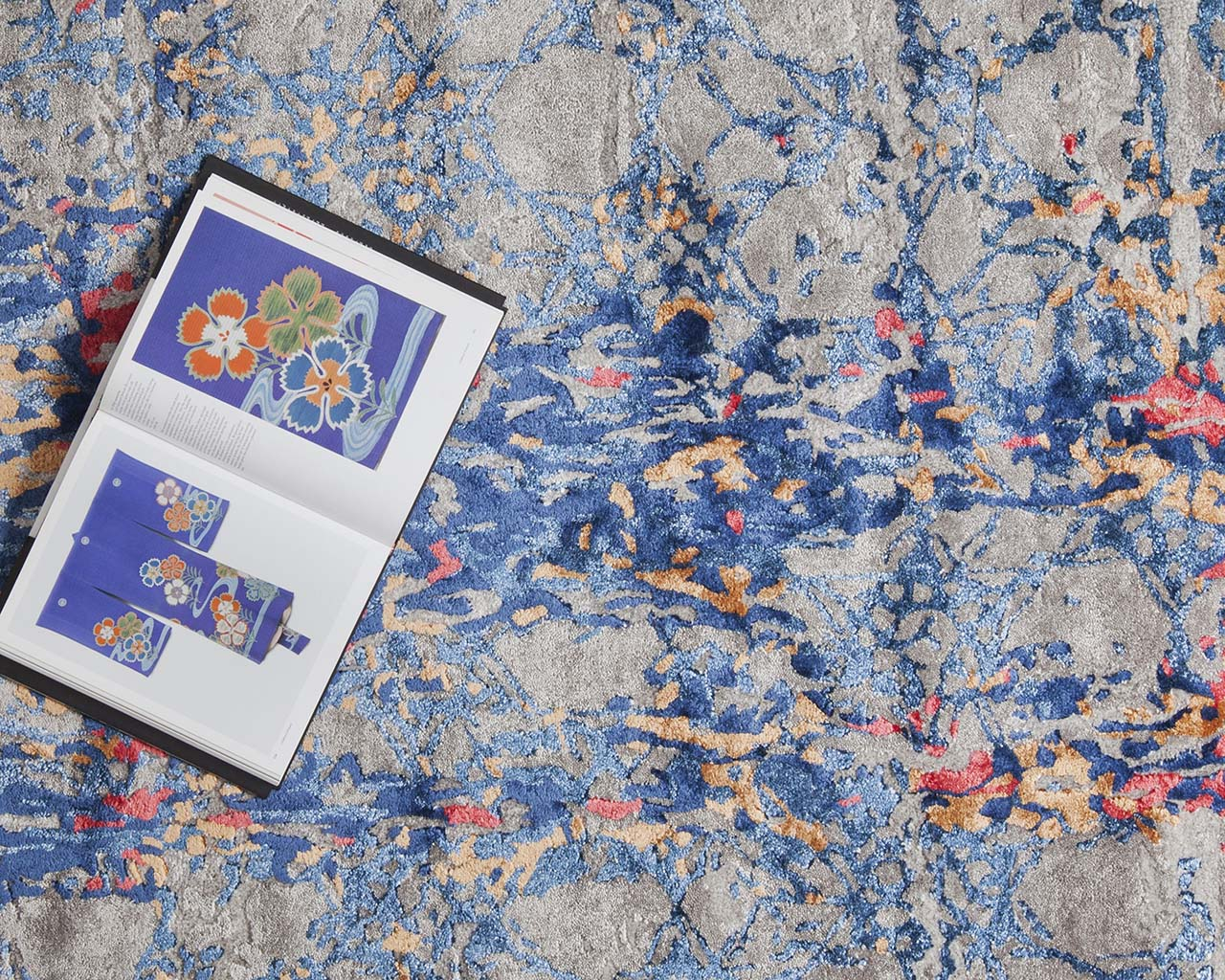hand tufted art book steel blue octagon area rugs