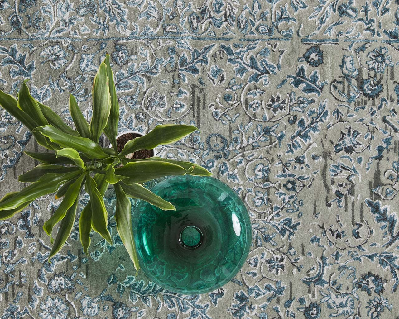 hand tufted glass bowl teal modern style carpets