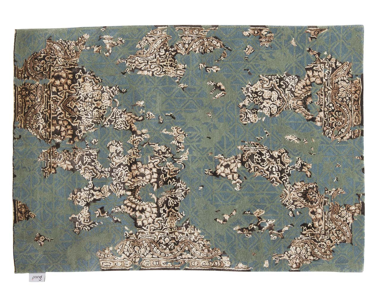 hand tufted rectangle green yellow authentic persian carpets