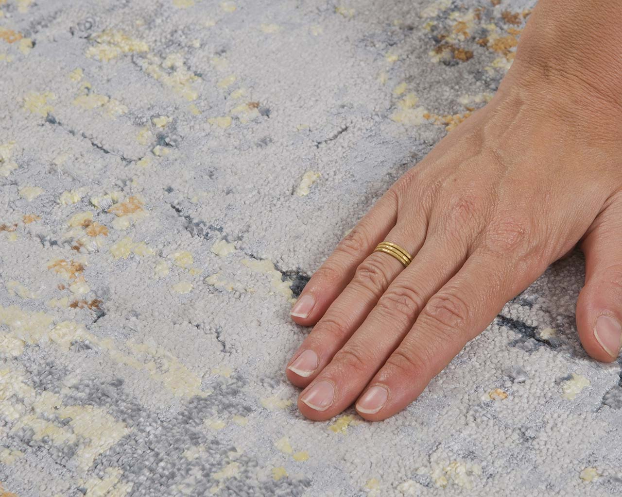 handmade abstract hand with ring vintage carpets