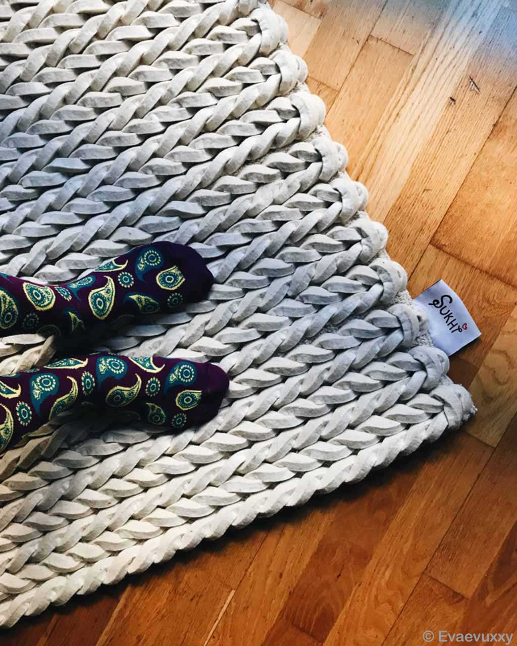handmade blue socks braided felt rugs