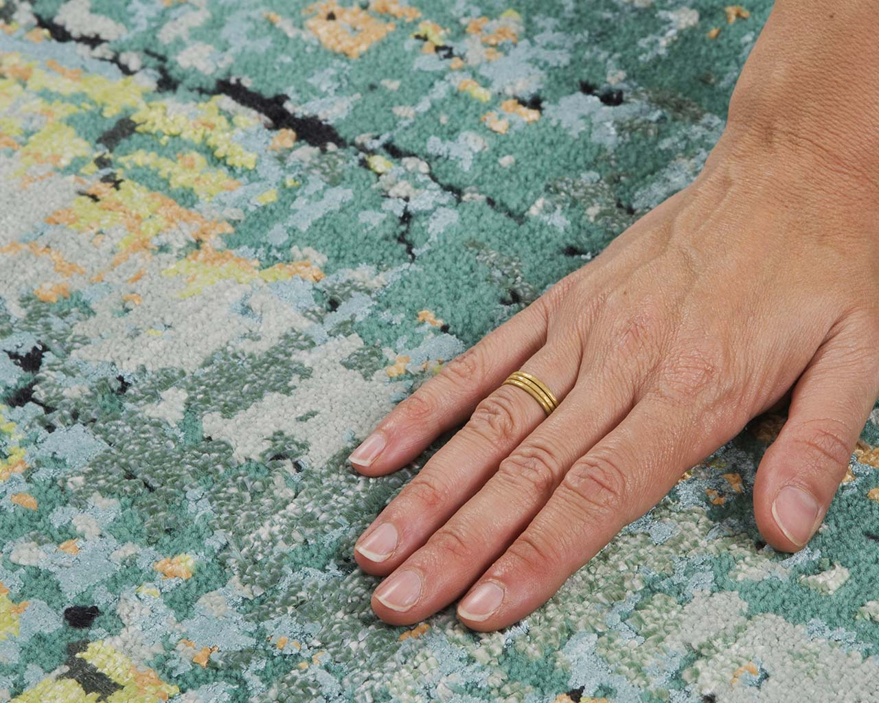 handmade cyan hand with ring persian rugs for sale