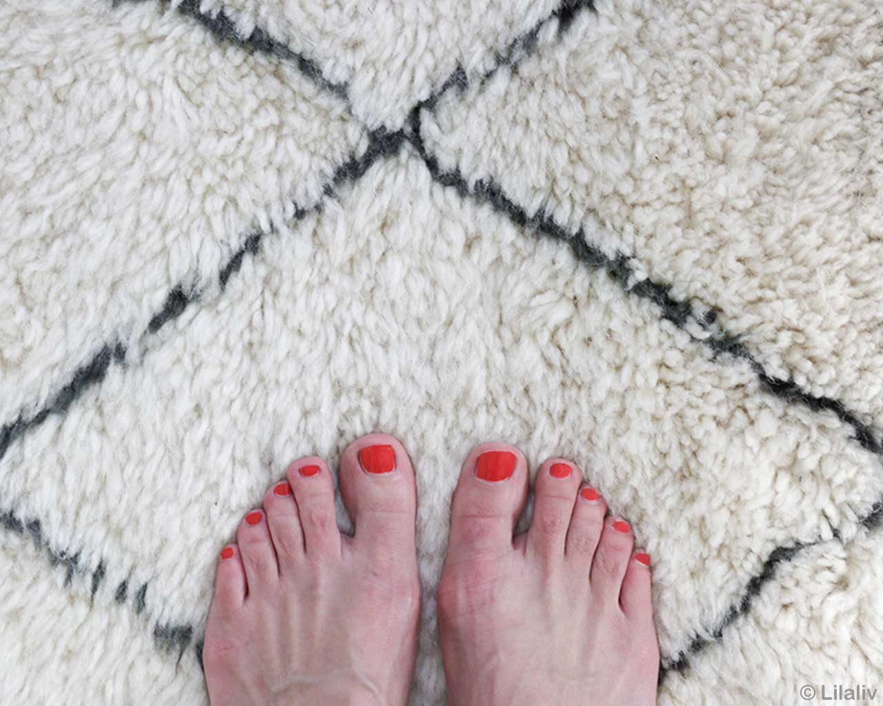 handmade girls feet with red nail polish morocco beni ourain rugs