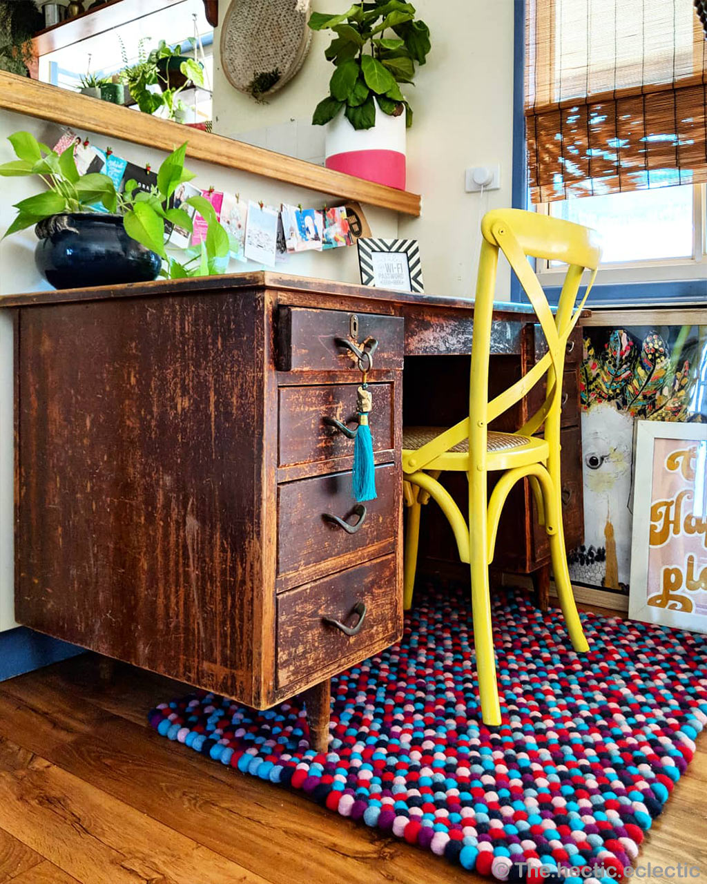 handmade yellow chair and brown table nepal traditional carpet