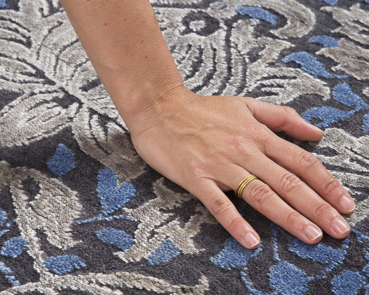 indian light blue hand with ring area carpets online