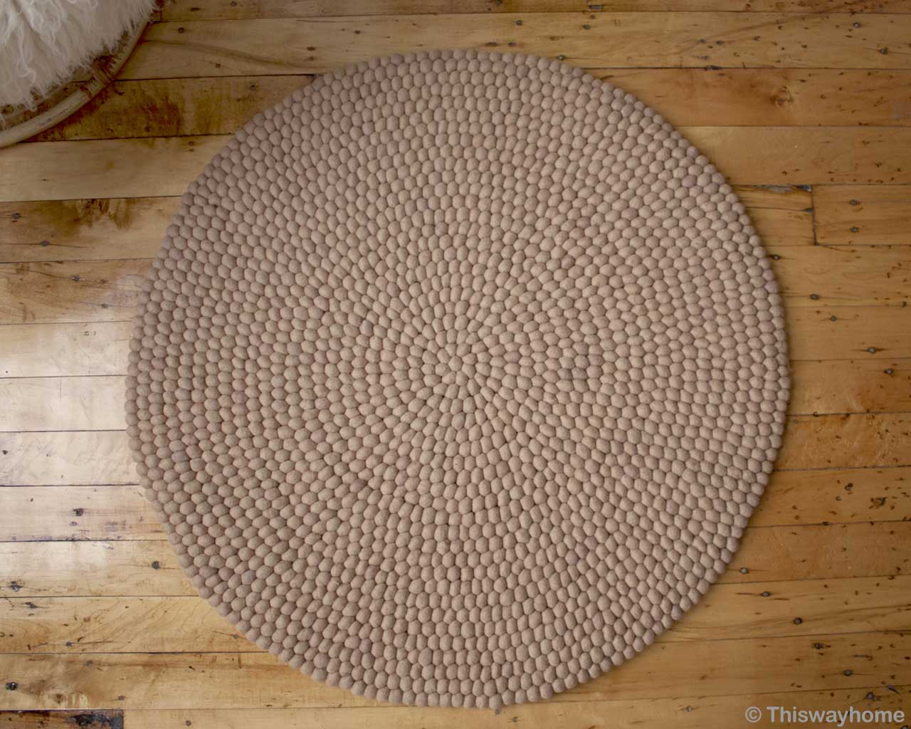 made in nepal contemporary round ivory felt ball rugs