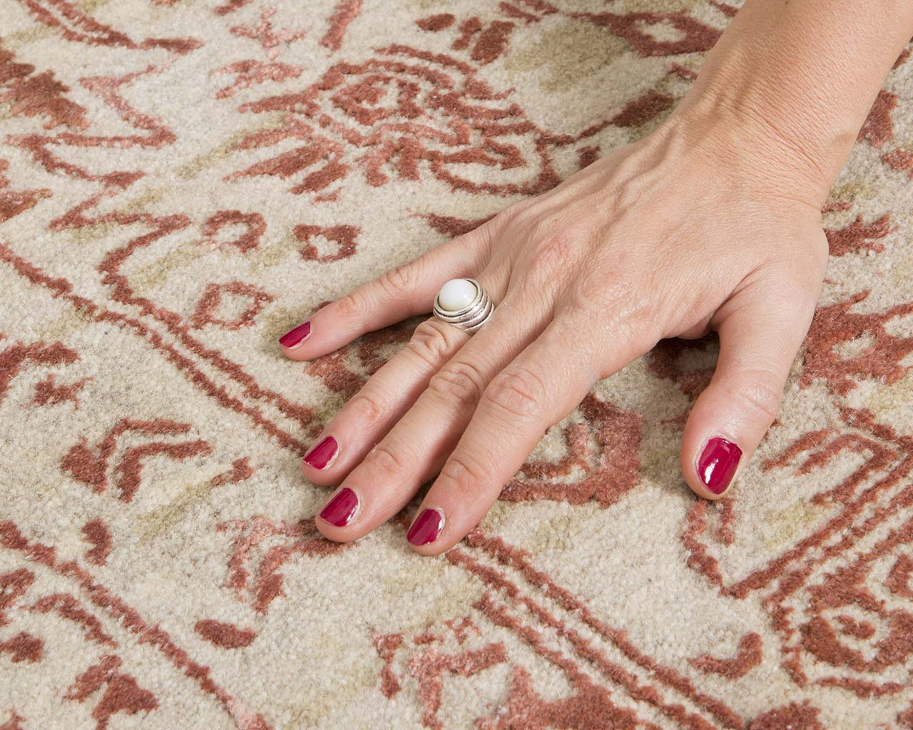 maroon handmade hand with nail polish luxury contemporary carpets