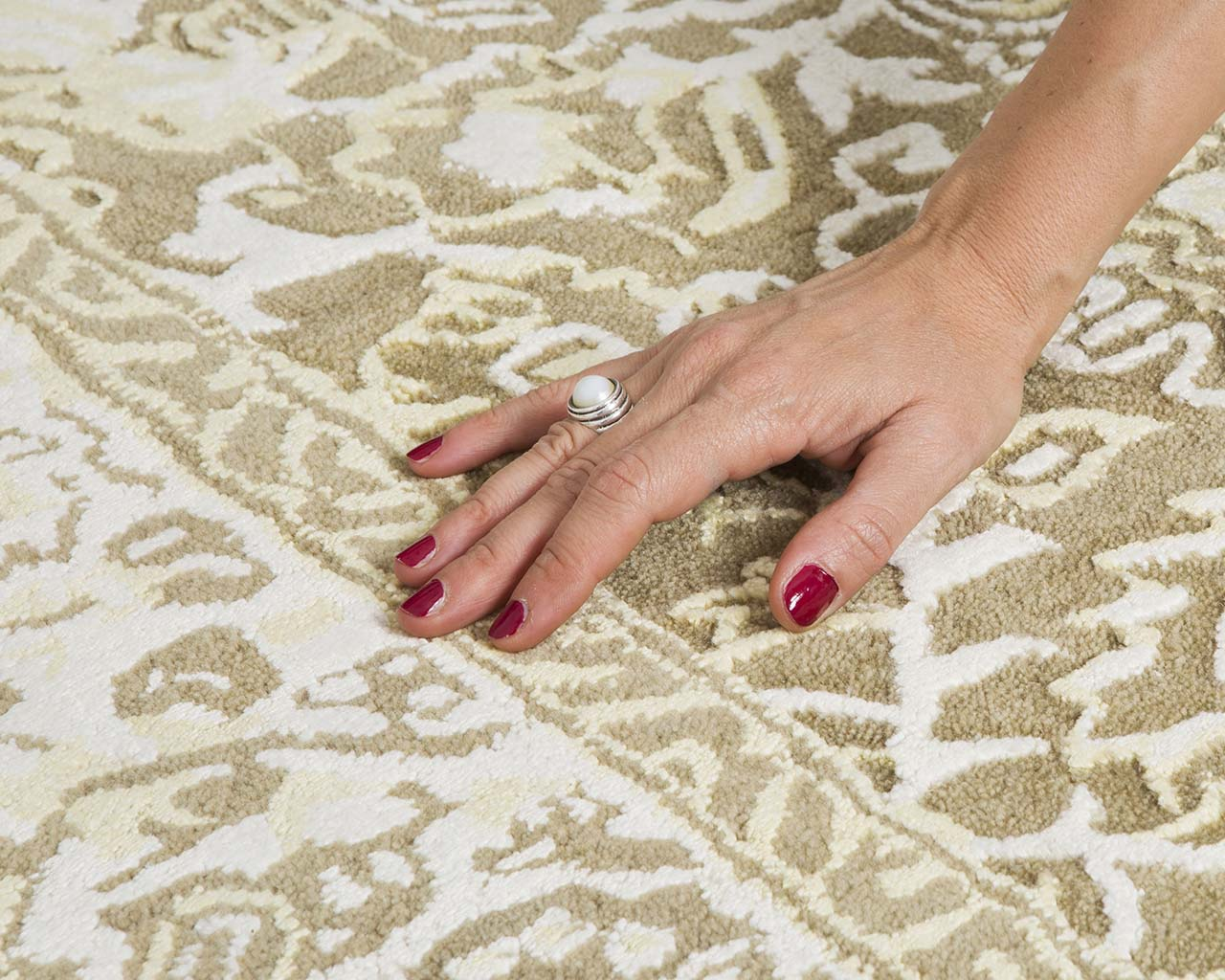 navajo white luxurious hand with nail polish nourison carpets