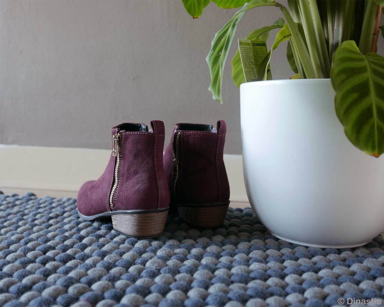 purple shoes and white pot asian rugs