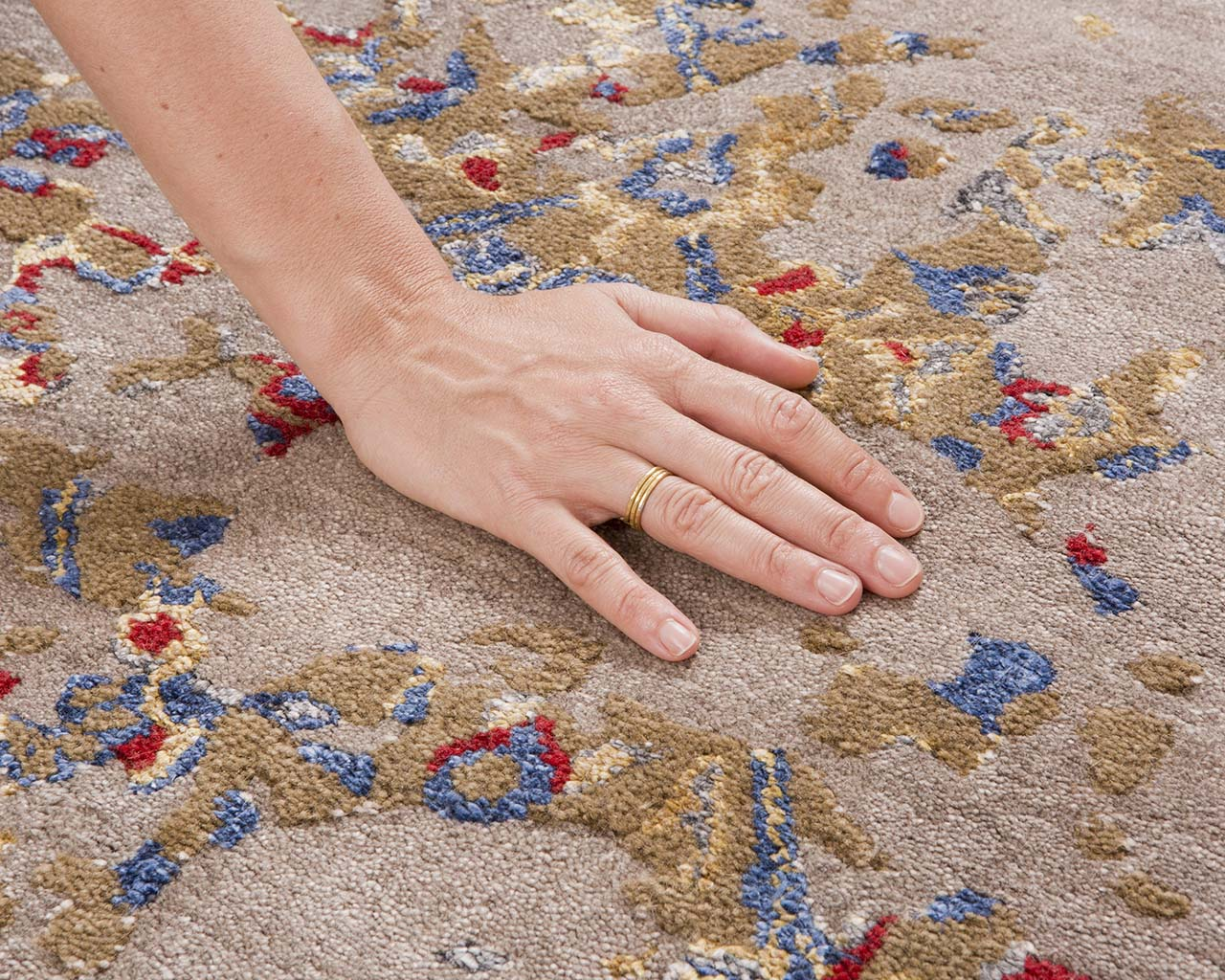 red handmade hand with ring modern area rugs for sale