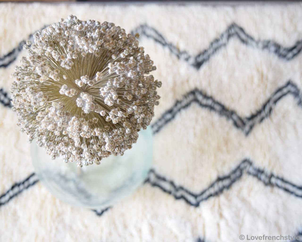transparent glass vase and white flower morocco fresh rugs