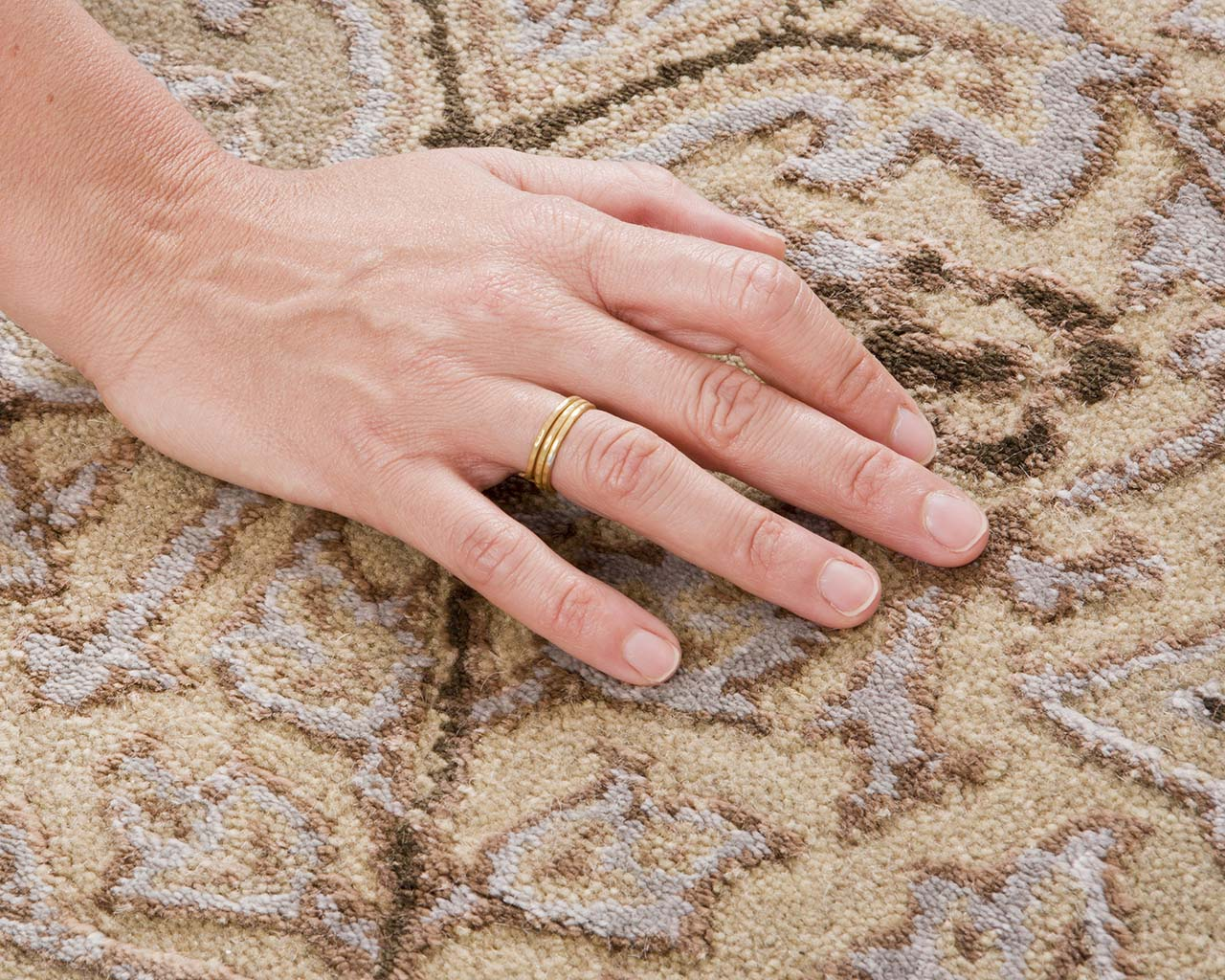 wheat oriental hand with ring iranian carpet