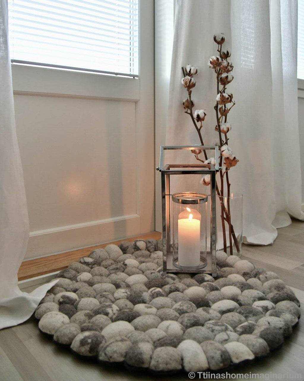 woolen candle and vase modern silver felt ball floor rugs