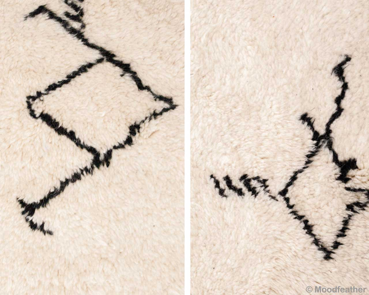 woolen modern custom beni ourain with black lines small rugs