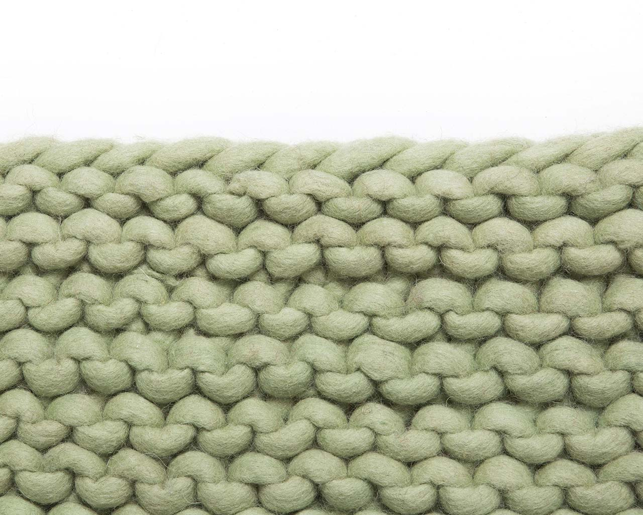 woolen pale green chunky braided area rug