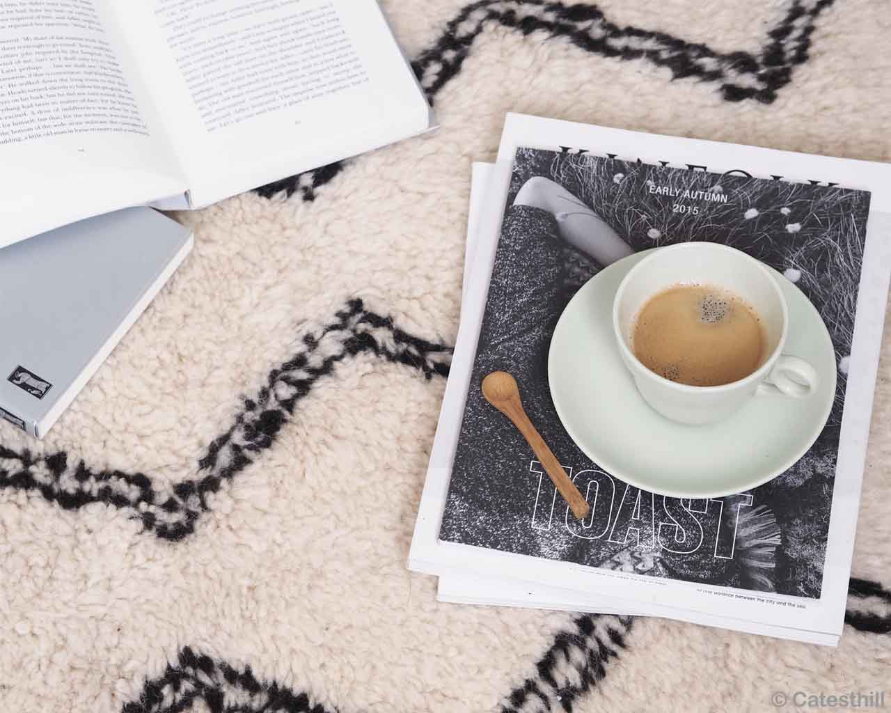 woolen tea with spoon and book morocco danish design rugs