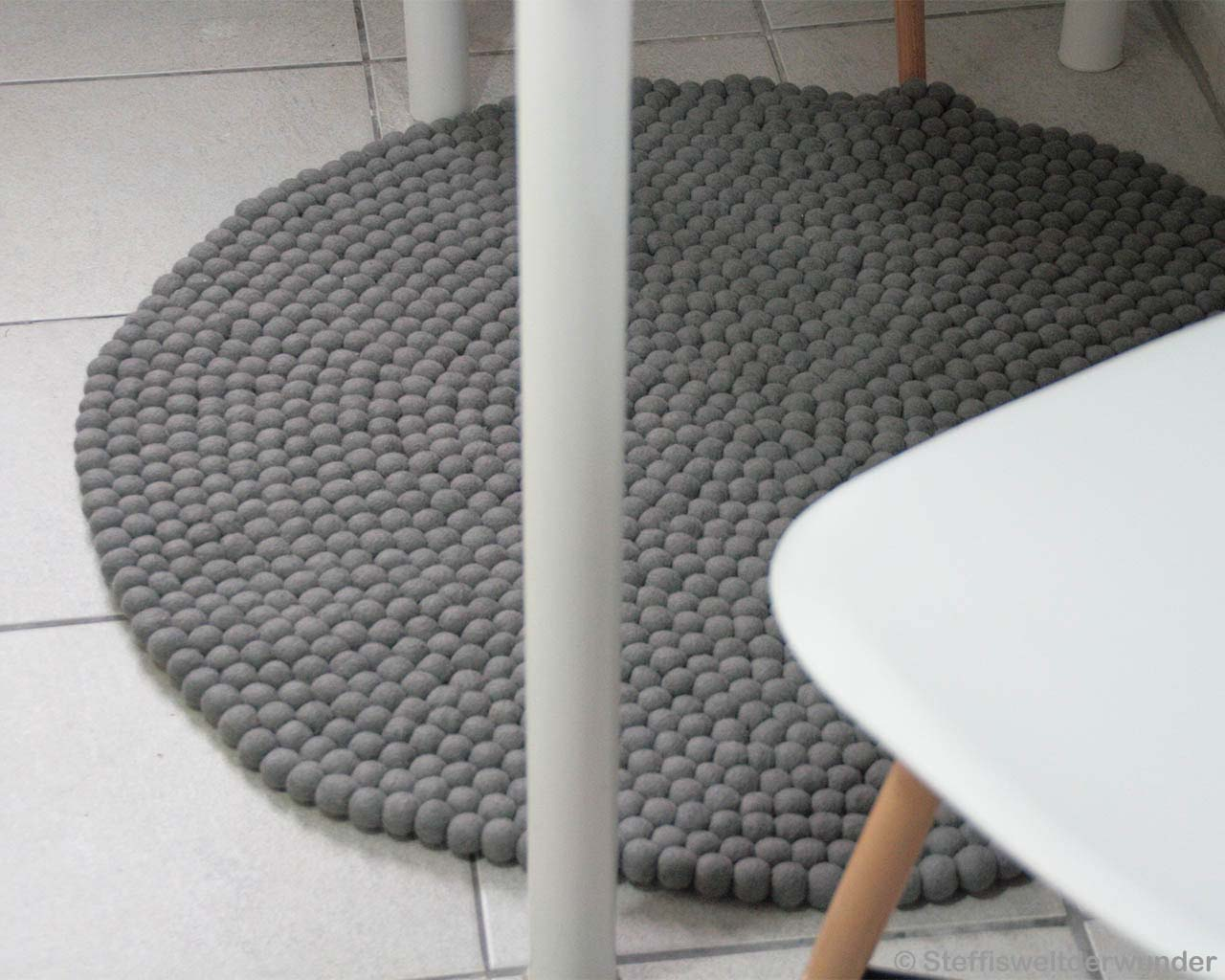 woolen white chair and table nepal contemporary round felt ball kitchen rugs