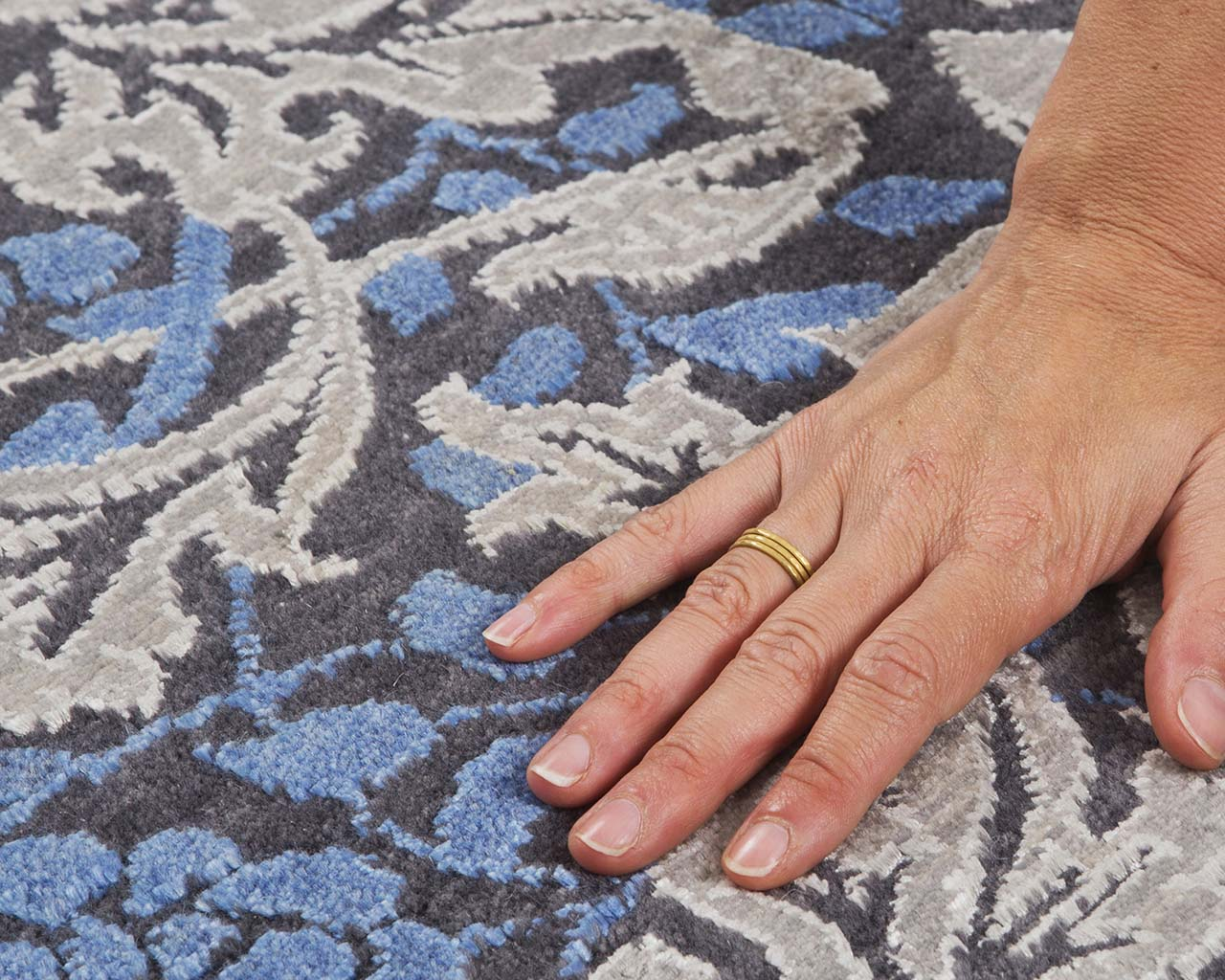 woven fresh light steel blue hand with ring contemporary throw rugs