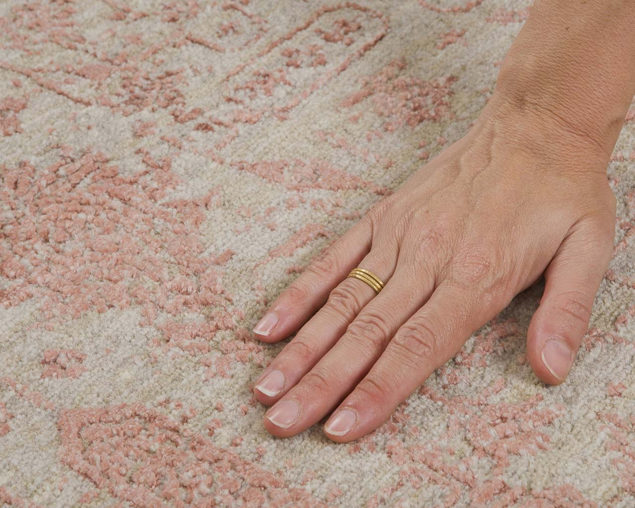 woven hand knotted deep pink hand with ring rugs direct