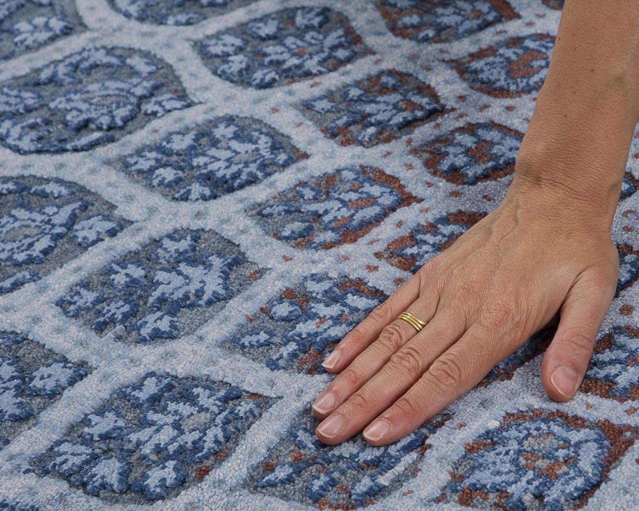 woven luxurious navy hand with ring designer rugs for less