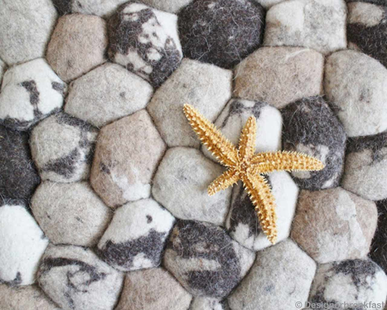 golden starfish pebble stone carpet beige white natural wool 2