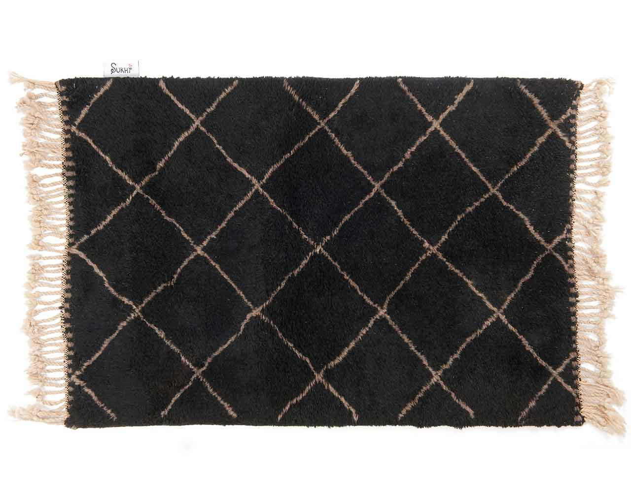 grey diamond pattern beni ourain carpet black colors 2