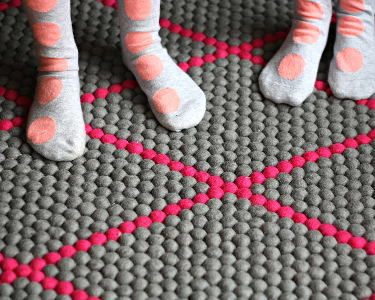 Custom felt ball rug – rectangle with pattern